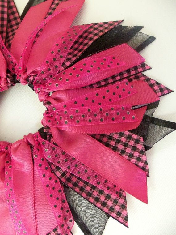 Black Fuschia  Polka Dots and Gingham Ribbon Spray Ponytail Holder Hairbow By Petite Personalities on Etsy.com