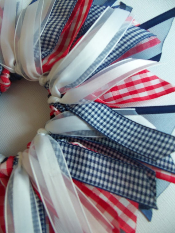 SALE Red White And Blue Gingham Cheer Style Ponytail Holder Hairbow by Petite Personalities on Etsy.com