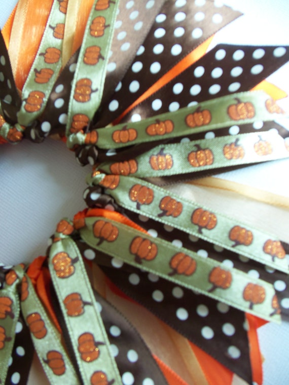 SALE Fall Halloween Glitter Pumpkin Orange And Brown Ponytail Holder Hairbow Ribbon by Petite Personalities on Etsy.com
