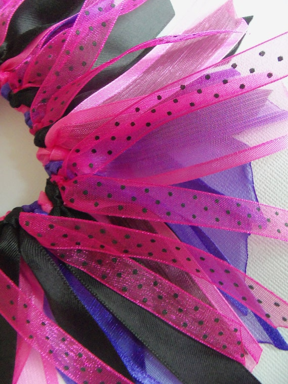 SALE Pink Purple and Black Cheer Style Ponytail Holder Hairbow Ribbon By Petite Personalities on Etsy.com