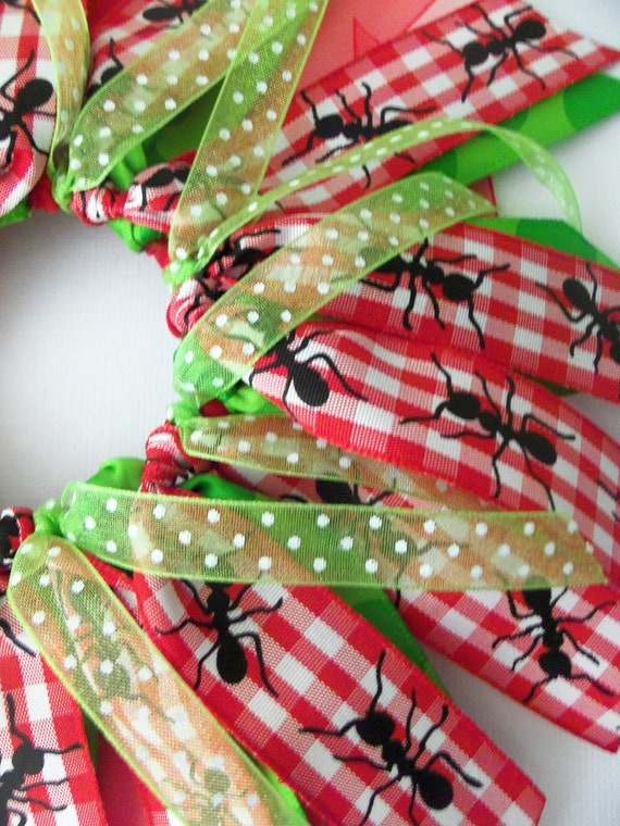 Red ANd Green ANt Polka Dot Cheer Style Ponytail Holder Hairbow Ribbon by Petite Personalities on Etsy.com
