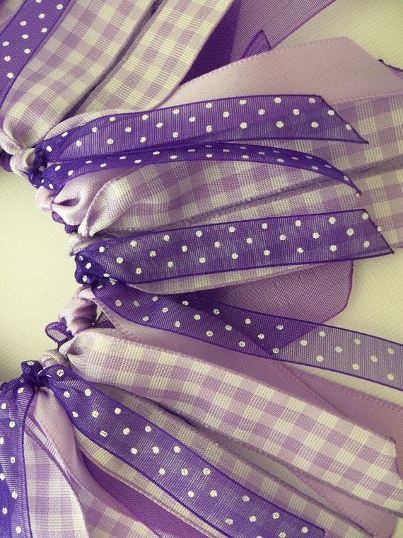 SALE Purple Madness Polka Dots and Gingham Cheer Style Ponytail Holder Hairbow Ribbon by Petite Personalities on Etsy.com
