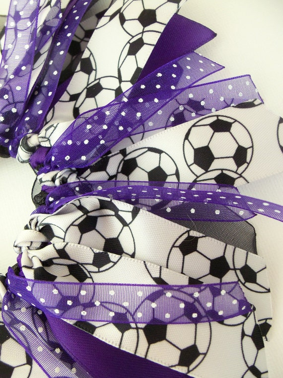 Soccer Ball Purple Black And White Cheer Style Ponytail Holder Hairbow by Petite Personalities on Etsy.com