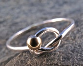 STERLING SILVER ring INFINITY love knot  . gold 12kt gf bead. celtic ring, friends ring. eternity ring. friendship ring  No.00E198