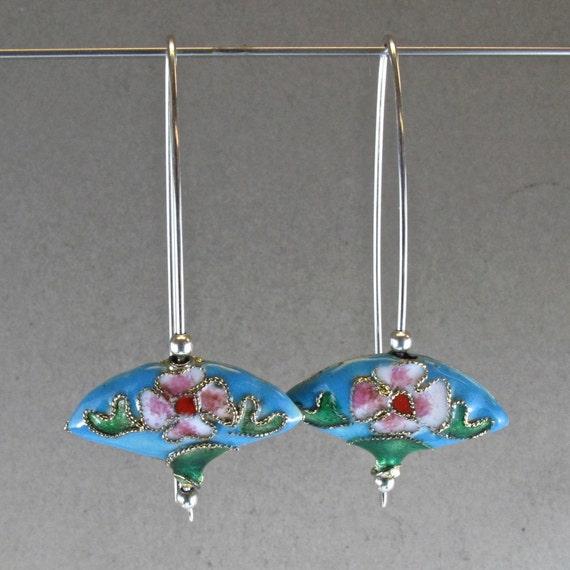 reserved STERLING SILVER EARRINGS modern contemporary  long elegant deco wire  blue chinese cloisonne enamel fan bead nickel free No.00E110