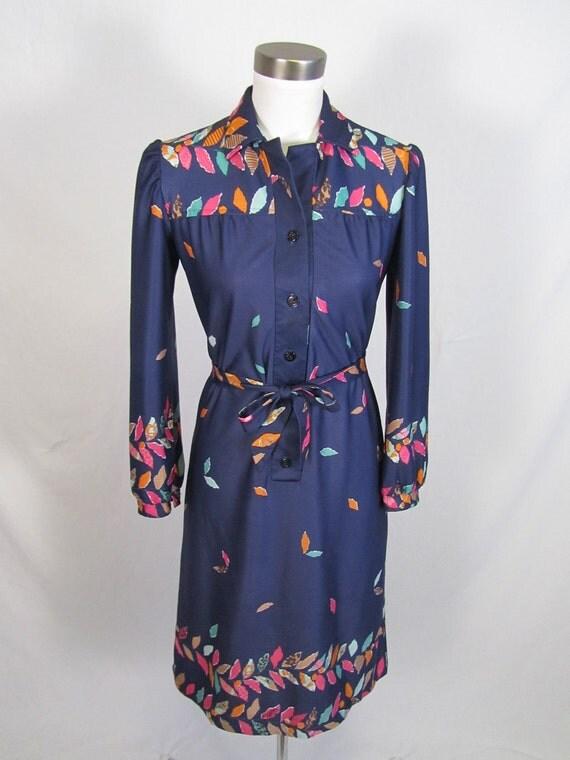 S A L E /// 1970's Falling Rainbow Leaves Dress S M
