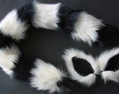 Ringtailed Lemur Cat Black and White Costume Set Ears Tail Halloween Cosplay
