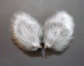 Silver Gray Fur Wolf Dog Coyote Cat Ears Costume Halloween Cosplay