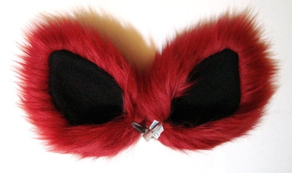 Red Long Fur Ears Costume Hair Clips Cat Dog Wolf Coyote Fox Halloween Cosplay
