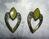 Vintage Exotic Olive Green Earrings  UNDER 20.00 FREE SHIPPING
