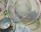 White Mesh Hat- Shabby Cottage Chic ~ wear it or hang it~ UNDER 20