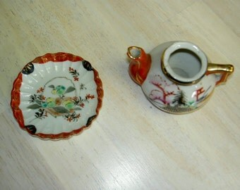 Tiny Vintage Mini Japanese Tea Pot and Saucer UNDER 20