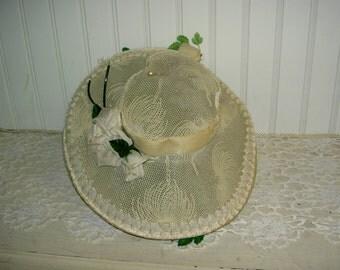 Shabby Ivory Velvet Hat