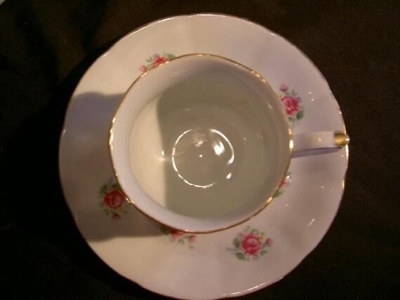 Shabby French Farmhouse Roses FTD Teacup & Saucer UNDER 20