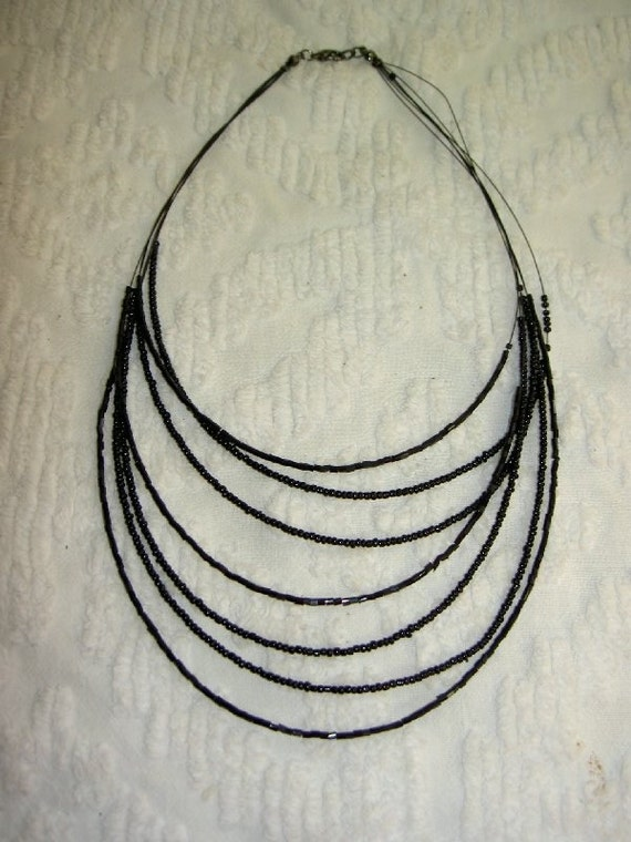 Jet Black Bugle Bead Necklace  UNDER 20