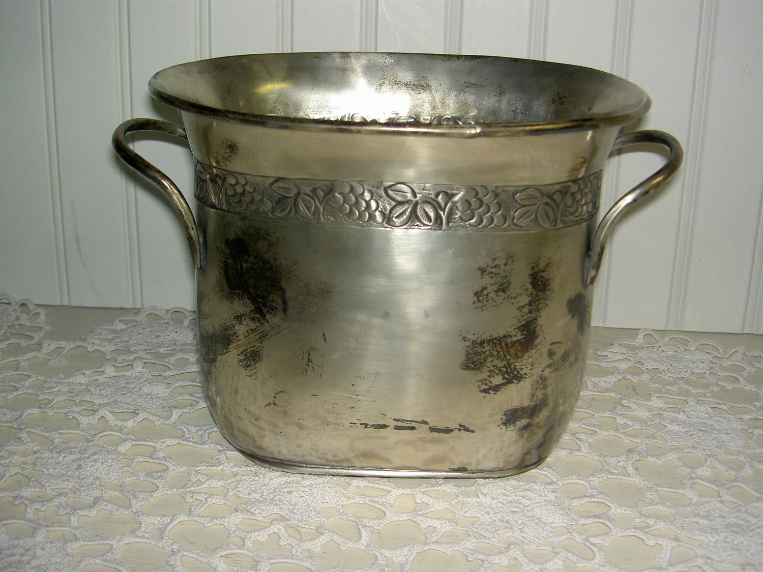 Vintage Pottery Barn Divided Ice Bucket Wine Cooler