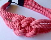 Pink cotton rope sailor knot headband