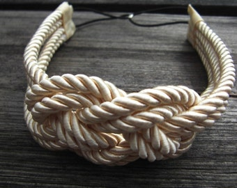 Ivory sailor knot headband