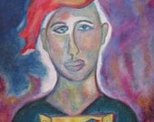 Bird Man - Original Oil Pastel by Trish Vernazza