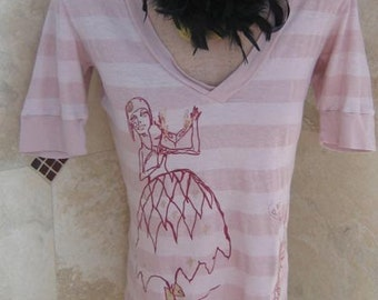 T-shirt Sale Pink Peacocks and Masquerade Lady Tshirt Limited Editions