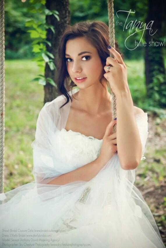 Bridal Wrap Shrug - Tanya Tulle Wedding Shawl