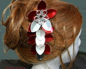 Red and silver scalemaille flower hair stick