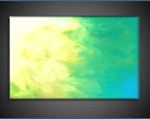 Large Original Abstract Canvas Contemporary/Modern Painting  - turquoise and yellows - 24x36 Custom Painting