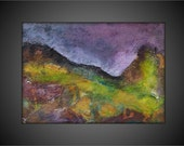 Framed Original Textured Acrylic Abstract Contemporary/Modern Painting- 5x7 -Purple, Gold, Green