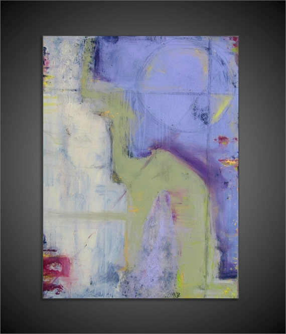 Original Abstract Mixed Media Acrylic Modern Painting on Canvas - 24x36 - Purples, Whites, Greens, and more