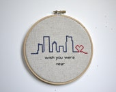 wall hanging cross stitch hoop 'wish you near' embroidery city gift