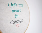 chicago cross stitch wall hanging gift. 'i left my heart in chicago' hoop