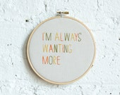 tri-color wall hanging needlework hoop // i'm always wanting more // cross stitch art gift