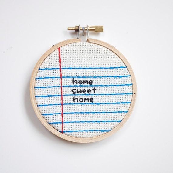 home sweet home cross stitch embroidery wall hanging home decor hoop - custom