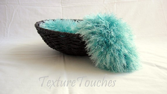 Ocean Blue Furry Thick Newborn Photo Prop in colors of the Deep Blue Sea