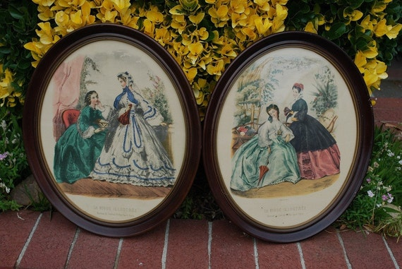 Antique Set Of 2 Leroy Imp Paris Oval Art Prints In Original