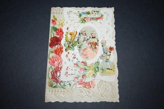 Antique 1800's 3D Die Cut Lace Valentine Card