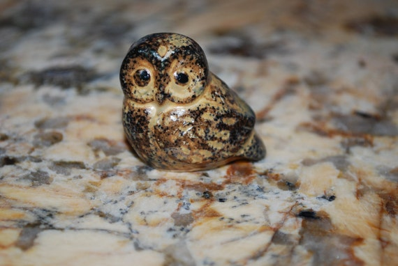 Vintage Ceramic Miniature Owl Figurine Japan