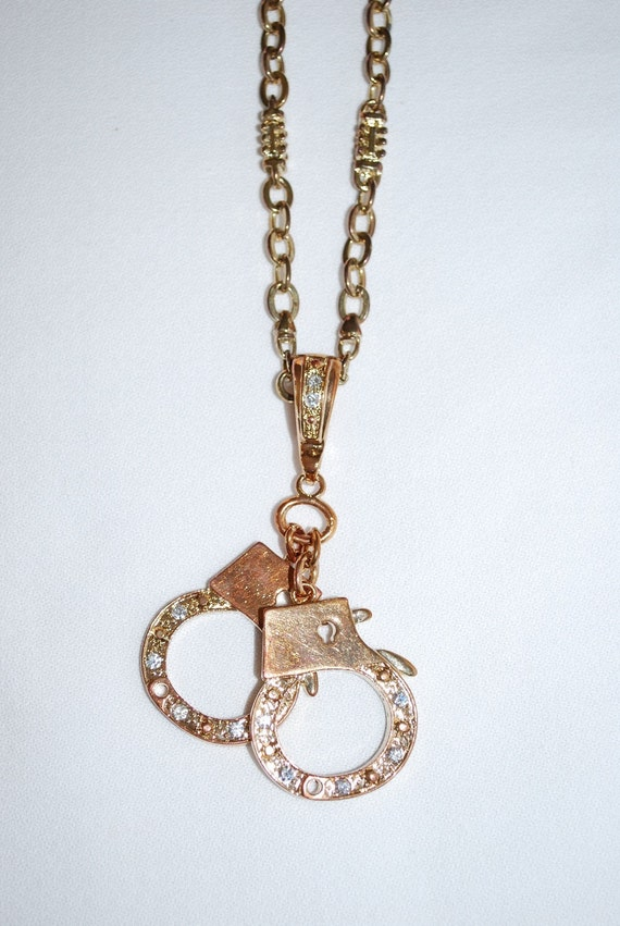 Vintage Mod Chunky Gold Chain and Rhinestone Hand Cuff Pendant Necklace
