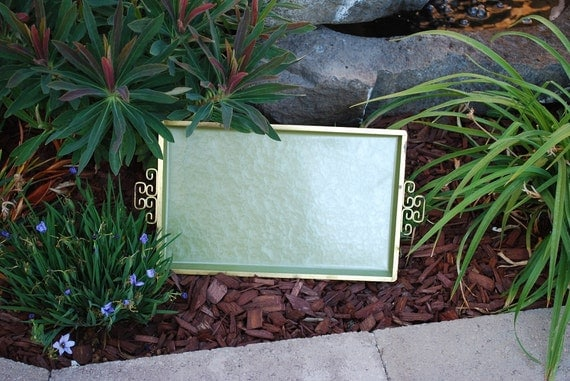 Vintage 1960's Kyes Moire Glaze Cocktail Tray for Two