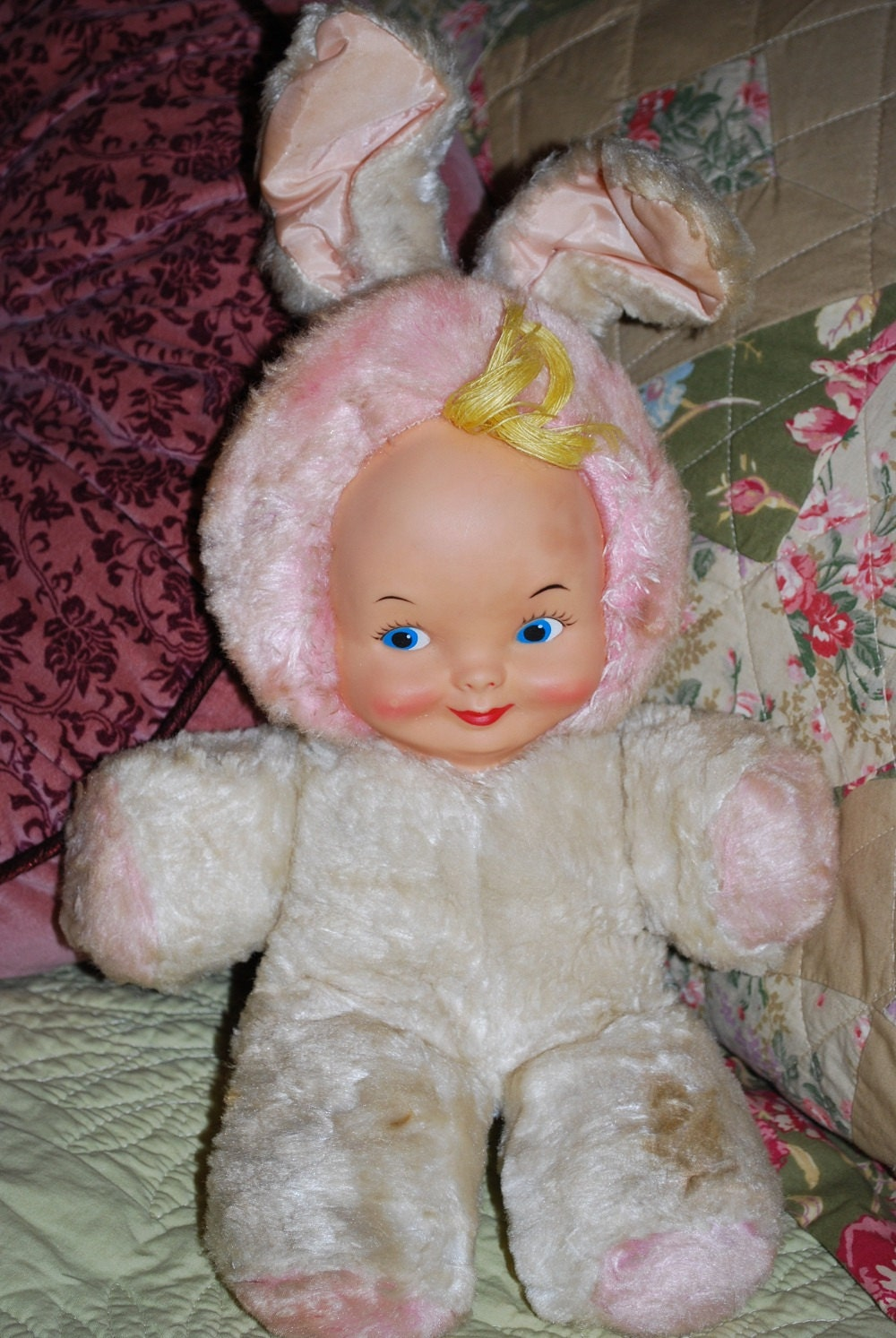 Vintage 1950 S Gund Rubber Face Bunny Baby Doll By Samjams3