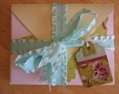 Pretty Pink and Cream Notecards with Envelopes set of 8