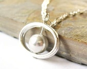 Grey Pearl Pendant Necklace - Silver, Mod, Modern, WeddingJewellery, Bridal Jewelry