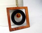 Wood Necklace - Brown, Ceramic, Porcelain, Pendant, Chunky, Mod, Geometric Jewelry, Jewellery