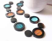Wood Resin Necklace - Mod, Aqua, Turquoise, Rust, Orange, Geometric, Jewelry, Jewellery