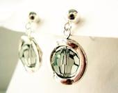 Sterling Silver Post Earrings, Drop, Crystal, Gray Glass, Modern Jewelry, Mod, Tibetan Silver, Stud, Grey