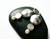 Modern Jewelry - Bridal Earrings, Pearl, Metal, Silver, Ivory, Dangle, Drop, Wedding, Contemporary Jewellery