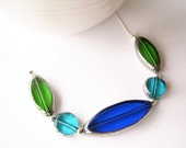 Modern Glass Necklace - Sterling Silver, Czech Beads, Cobalt Blue, Turquoise, Green, Contemporary Jewelry, Nickel Free Jewellery