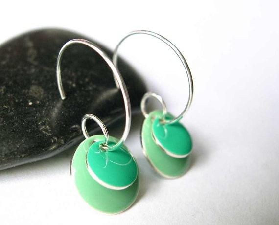 Modern Hoop Earrings -  Enamel, Mint Green, Light Turquoise Blue, Silver, Simple, Geometric Jewelry, Contemporary Jewellery