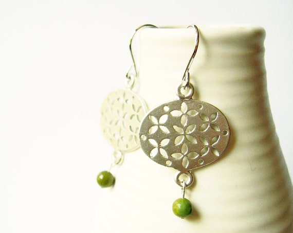 Modern Earrings - Silver, Natural Turquoise, Olive Green, Geometric, Tribal, Contemporary Jewelry, Dangle, Jewellery