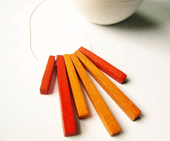 Wood Necklace - Funky, Red, Orange, Artsy, Stick, Modern Jewelry, Contemporary Jewellery, Sterling Silver